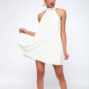 Lulu's White Halter Swing Rehearsal Dress